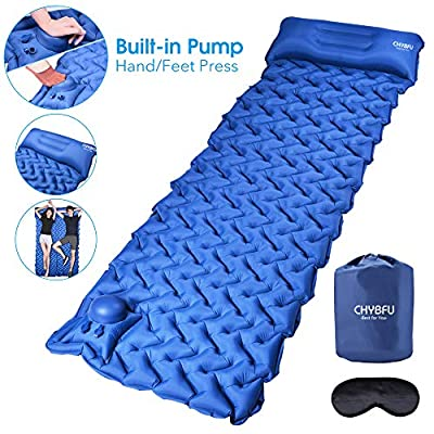 CHYBFU Camping Sleeping Pad with Built-in Pump, Upgraded Ultralight Inflatable Camping Mat with Pillow for Backpacking, Traveling, Hiking, Durable & Waterproof Self Inflating Sleeping Pad for Camping