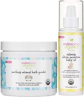 Mambino Organics Ultra-Sensitive Skin Calming Set - Natural Colloidal Oatmeal Bath Powder and Soothing Oil - All Natural F...