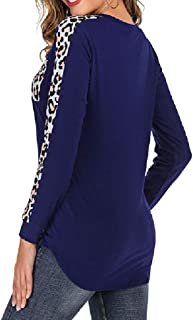 Howely Women's Shirt Crew-Neck Long-Sleeve Leopard Splice T-Shirts