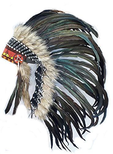Hejoka Indianer Federhaube Kopfschmuck MEDIUM BLACK 90 cm. mit grauem Fell Warbonnet Unikat