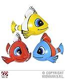Widmann Aufblasbare tropische Fische, 60 cm, 3 Cols Requisiten & Thema, aufblasbar, Party-Dekoration für Kostüm-Zubehör