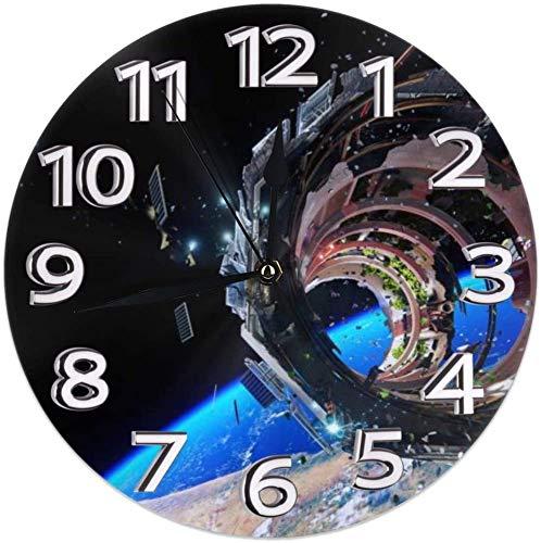 Wandklok Ruimte Satelliet Astronaut Decoratieve Wandklok Stille Niet Tikken - 9.8Inch Rond Gemakkelijk te Lezen Decoratief voor Thuis/Kantoor/School Klok