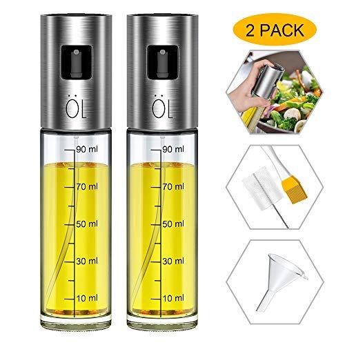 Ninonly [2 Pack] Pulverizador Aceite Pulverizador Spray Oliva Aceite Recargable Botella con 2 Pinceles y 1 Embudo para Cocinar/Ensalada/Hornear Pan/BBQ/Cocina