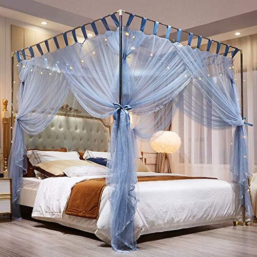 TONG Mosquitera el pabellón Azul con Luces, 4 Esquinas del Anuncio Cama con Dosel Cortina mosquitera, Malla Dormitorio Carpa 3 Puerta Y Soporte de Metal (tamaño : Queen)