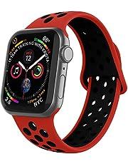 Apple Watch Silikon Kordon Spor Kayış Delikli 38mm 40mm 42mm 44mm 1 | 2 | 3 | 4 | 5 (42mm/44mm, Kırmızı Siyah)
