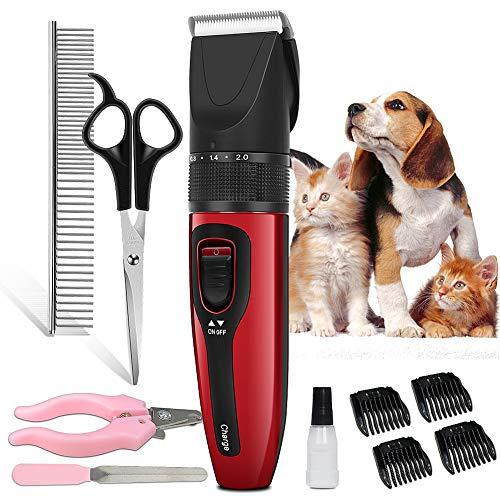 [Versión mejorada] Cortacésped profesional para perro, cortacésped de pelo largo, silencioso, inalámbrico y recargable Clippers Trimmer Pet Grooming contiene 2 cuchillas y otros accesorios.