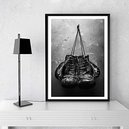 HDKSA Boxhandschuhe Vintage Foto Poster Kunst Leinwand Malerei Drucke für Wohnzimmer Home Wanddekoration 40X60Cmx1 No Frame
