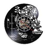 TPYFEI 1 Pieza de biología biológica química Ciencia círculo Reloj de Pared de Vinilo molécula de oxígeno fórmula química Sala de niños guardería Art Deco Reloj-sin LED