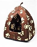 Purrfect Pet TM - Cama de forro polar para mascota, gato, perro, cachorro, conejo, color marrón con estampado de huellas de color crema