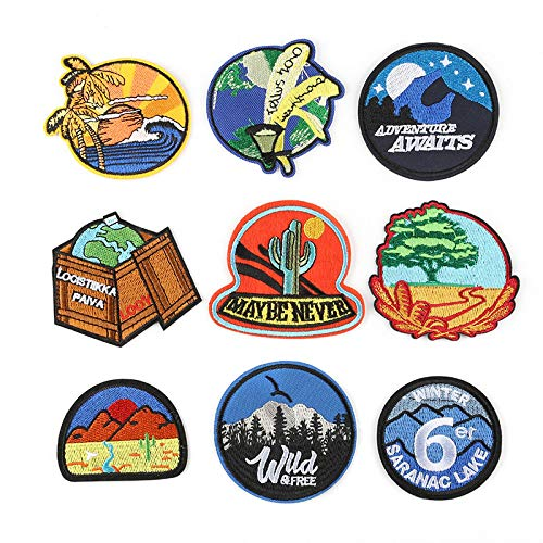 Iron on Patche/Sewing Patch,Embroidery Applique,Suitable for Hats,T-Shirts,Coats,Jackets,Pants,Shoes,suitcases,Backpacks,9pcs Styles: Round Landscape Earth