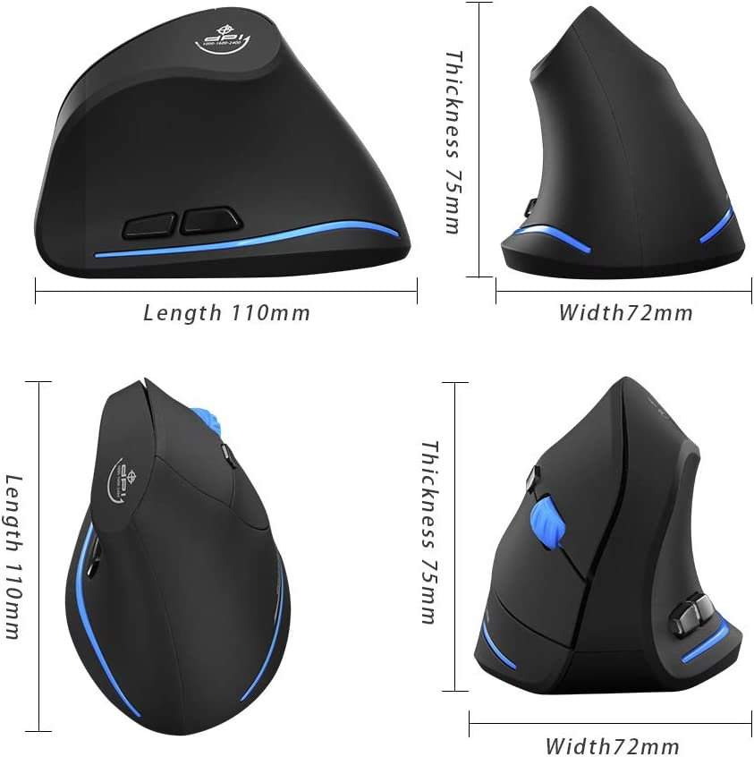 Zelotes Vertical Wireless Mouse, 2.4G Ergonomic Mouse for Laptop,PC, Desktop (Black)