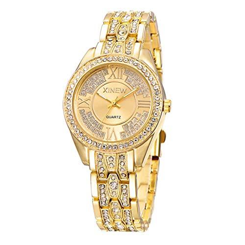 GLEMFOX mode dames kwartshorloge roestvrij stalen armband ultradun dameshorloge klassiek casual meisje klok met strass rond wijzerblad armband roze goud