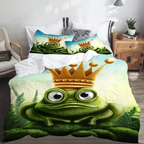LASINSU Bedding Bettwäsche,Froschkönig auf Moss Stone mit Crown Fairytale Inspired Cartoon Image,Bettwäsche 135x200cm mit Kopfkissenbezug 2(50x80cm)