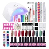 Kit Vernis Gel Semi Permanent 10pc Vernis 36W Lampe UV/LED Gel Polish Soak Off Gel UV/LED Vernis à Ongle Top Coat Base Coat Lime Nail Art Ongle Strass Decors Brosse Dissvolant Manucure Saint-Acior