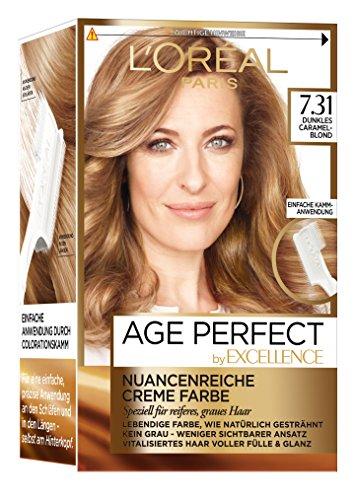 L\'Oréal Paris Excellence Age Perfect Coloration, 7.31 dunkles caramelblond, 3er Pack (3 x 1 Stück)