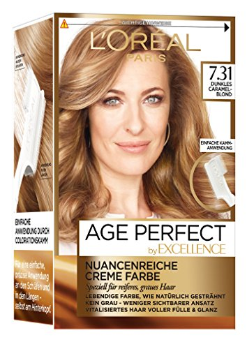 L'Oréal Paris Excellence Age Perfect Coloration, 7.31 dunkles caramelblond, 3er Pack (3 x 1 Stück)