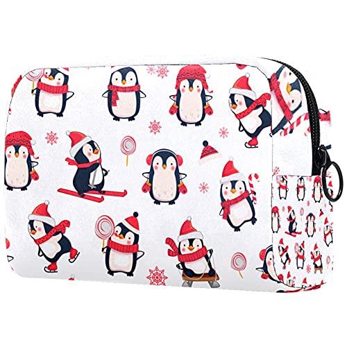 FURINKAZAN Sombrero de Navidad Invierno Pingüino Viaje Bolsa de Maquillaje Bolsa de Artículos de tocador Bolsa de Maquillaje Hombres y Mujeres