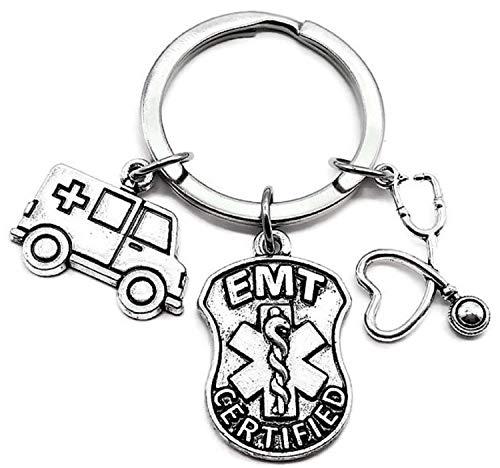 EMT Keychain, EMT Gift, Ambulance Keychain, Stethoscope Keychain, Caduceus Medical Symbol Charm, Emergency Medical Technician Keychain, EMT Charm Keychain, EMT Graduation, EMT Key Ring