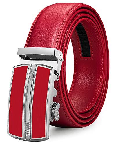 ITIEZY Automatik Gürtel Herren Designer Lederguertel Schnalle Herren, Rot 2, Länge: Bis zu 49,2 inches(125cm)
