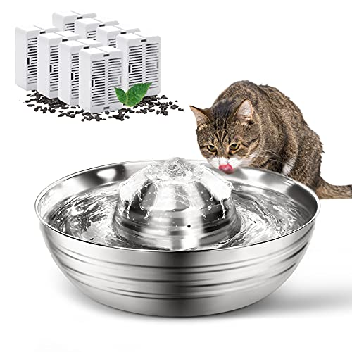 OPOLEMIN Stainless Steel Cat Water Fountain with 8...