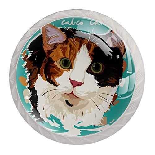Tiradores de cajón redondos para gabinete para casa, oficina, cocina, aparador, armario, decoración, dibujos animados gato calico
