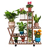 Wood Plant Stand with Wheels, CONMIXC 5 Tiers 10 Potted Plant Shelf Rack Display Stand, Multi Tiers Tiered Wooden Rolling Flower Pot Holder Stand Organizer for Indoor Outdoor Living Room Floor