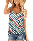 NIASHOT Sexy Tank Tops for Womens Cleavage V Neck Shirt Cute Cami Sleeveless Blouse Black Stripe XL