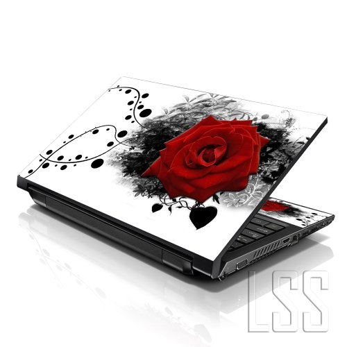 """LSS 15 15.6 inch Laptop Notebook Skin Sticker Cover Art Decal Compatible with 13.3"""" 14"""" 15.6"""" 16"""" HP, Dell, Lenovo, Apple, Asus, Acer (Free 2 Wrist Pad Included) - Red Rose Floral"""