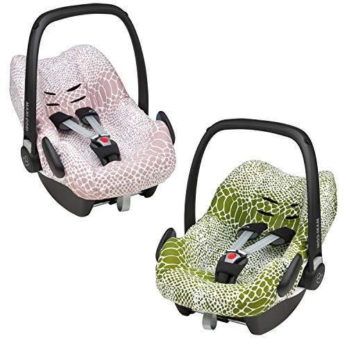 Meyco Baby Snake ** Funda universal suave y acogedora ** 100% algodón transpirable ** para portabebés Maxi-Cosi CabrioFix y otros (aguacate de serpiente)
