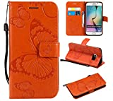 Amocase Wallet Leather Case with 2 in 1 Stylus for Samsung Galaxy S6 Edge,Premium Strap 3D Butterfly Magnetic PU Leather Stand Shockproof Card Slot Case for Samsung Galaxy S6 Edge - Orange