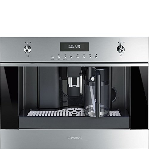 """Smeg 24"""" Built In Fully Automatic Coffee Machine with Milk Frother, Stainless Steel"""