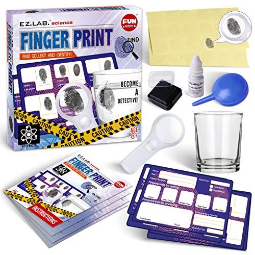 Spy Fingerprint Kit for Kids, FunKidz Detective Spy Kit Science Experiments...