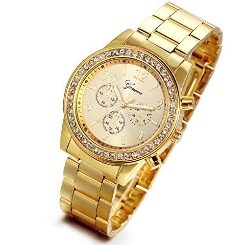 Lancardo - Reloj de muñeca de lujo para hombre o mujer, de acero inoxidable dorado, de cuarzo y con diamantes de imitación; incluye bolsa de regalo