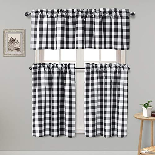 Hiasan 3 Piece Semi Sheer Black Kitchen Curtains Light Filtering Buffalo Checkered Tier and Valance Window Curtains Set