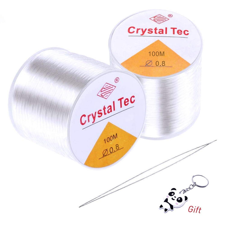 SUMAJU 2 Roll(100 m/Roll) Crystal Elastic String,0.8 mm Clear Thread String with Threading Needles Stretchy Bracelet String & Threading Needles for Beading, Jewelry Making