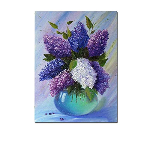 Moderne lila canvas posters en prints in de vaas, bloemkunst aan de muur, decoratief schilderen, woonkamer decoratief schilderen 40x60cm zonder frame