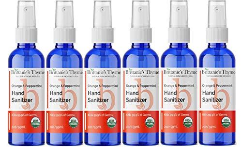 Brittanie's Thyme Organic Travel Hand Sanitizer Spray, 2 oz 6 Pack Orange & Peppermint