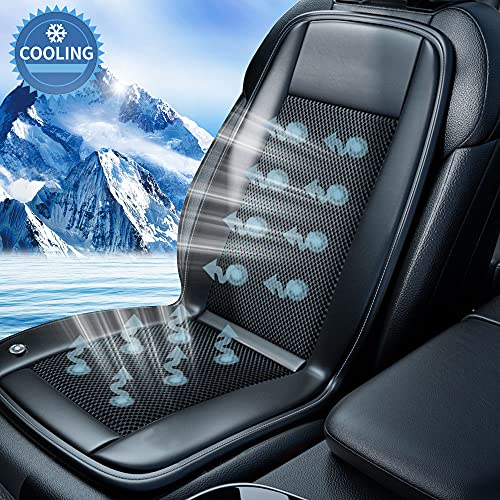 Cooling Car Seat Cushion- 10Fans & 3 Adjustable Temperature 12/24V System- 15s Cool Down Fast for Summer Driving- Breathable Seat Cover with Air Conditioning System- 1 Pack (Black)