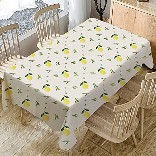 Mantel de impresión de Hojas de Color Verde limón Simple Mantel Rectangular de Lino de algodón Cubierta de Mesa de Centro Comedor Boda Mantel a Prueba de Polvo D140x240cm