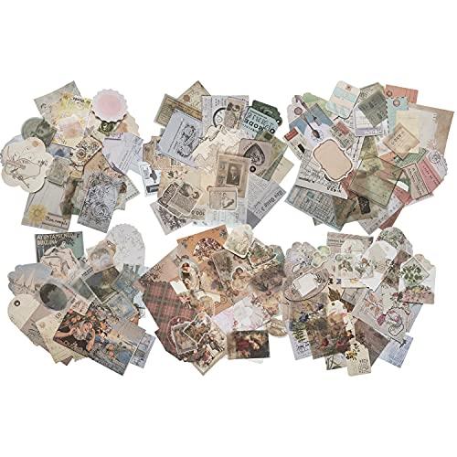 162枚 レトロ クラフト紙&ステッカーの組み合わせ メモ紙 背景紙 手帳 ノート 装飾用紙 ヴィンテージパターン スクラップブック紙