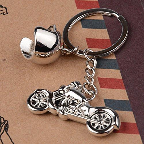 Motorrad und Helm Schlüsselanhänger aus Metall, als Geschenk geeignet