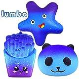 Jouets Jumbo Squishies, 3 Paquets Galaxy Squishy Squishy Galaxy Panda + Frites + Star, Slow Rising Squeeze Soulagement du Stress Peluches Décoration Cadeau pour Enfants Adultes