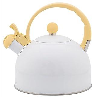 Witte fluitketel 2,5L grote capaciteit geel handvat keukengerei fluitketel gas universeel