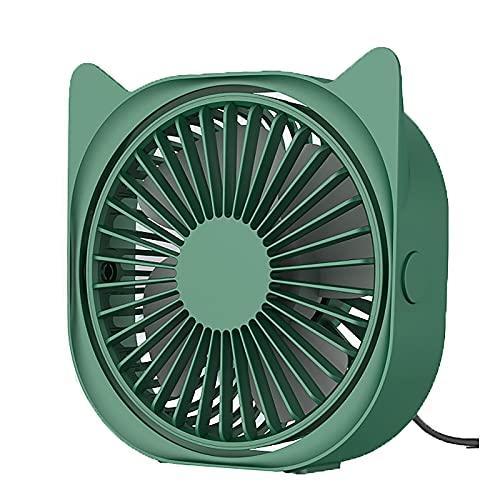 LABYSJ Mini Ventilador de Escritorio silencioso USB, Ventilador de Escritorio para Oficina en Verano, Ajuste de 3 velocidades, rotación de 360 °, Ventilador de refrigeración USB portátil,Verde