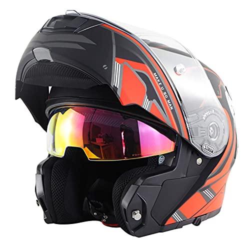 XYXZ Vollgesichts-Motorradhelme Integrierter Modularer Hochklappbarer Vollgesichts-Motorradhelm Punkt Zertifiziert Mit Sonnenblende Motorradhelme Modulare Helme Klapphelme Offroad-Helme Für