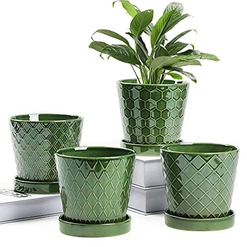 Buymax - Maceta suculenta de cerámica de 5 pulgadas con agujeros de drenaje y bandeja de cerámica - Juego de regalo para decoración de ventanas, 4 plantas no incluidas