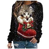 XOXSION Jersey de Navidad para mujer, invierno y otoño, cuello redondo, informal, jersey de regalo, top de muñeco de nieve, moda de manga larga, blusa para mujeres, adolescentes y niñas, Negro , XXL