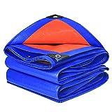 GOODLUKE Lona Impermeable Exterior con Ojales, [160 G/M²] Azul/Naranja Premium PE Lona Protectora Resistente Desgarr para Muebles De Jardín/Piscina/Coche/Camión, Customizable,6x9m
