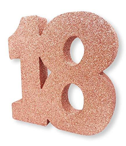 Creative Party H121 - Decorazione da tavolo con numero 18, colore: oro rosa