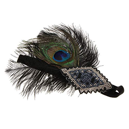 FLAMEER Bande de Cheveux Années 1920 Rétro Bandeau Femme - Plume de Paon